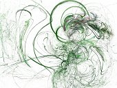 Abstract fractal with green chaotic curved lines