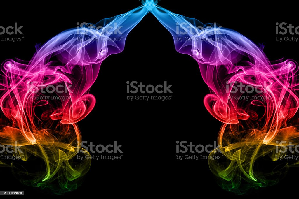 abstract frame from rainbow smoke on black background stock photo