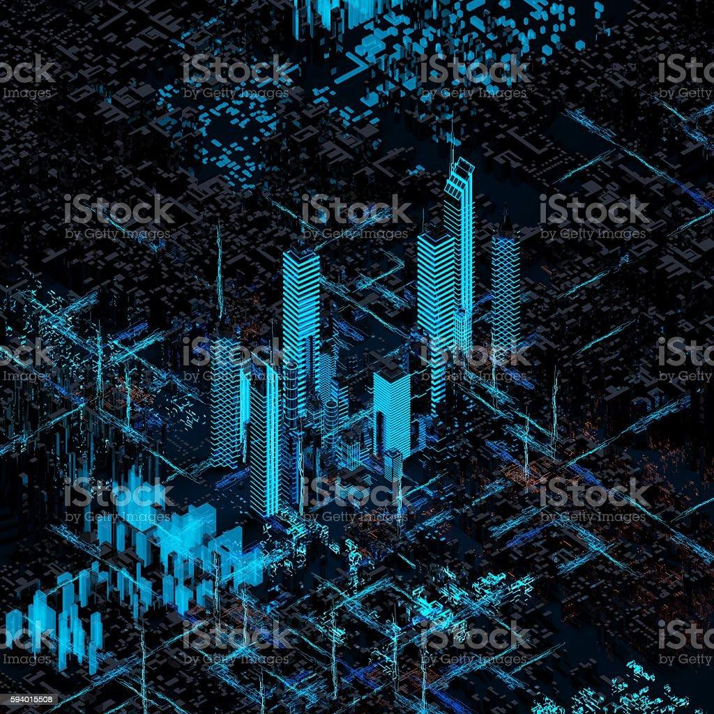 Abstract futuristic city stock photo