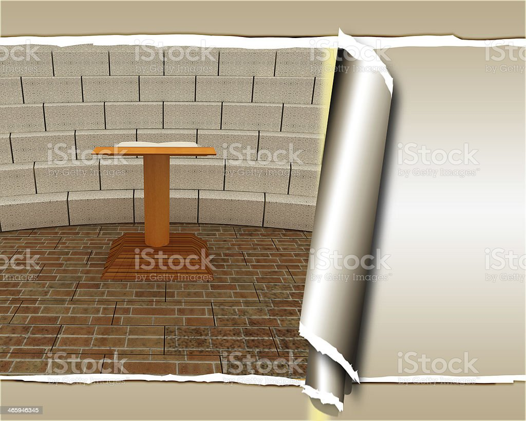 Abstract futuristic interior. Brick scene with cathedra and trib stock photo