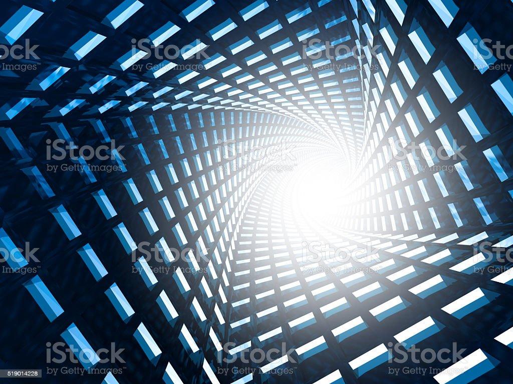Abstract Futuristic Tunnel Blue Dark Background stock photo
