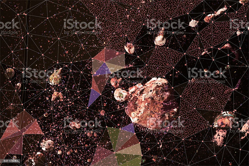Abstract geometric pattern over painted background stock photo