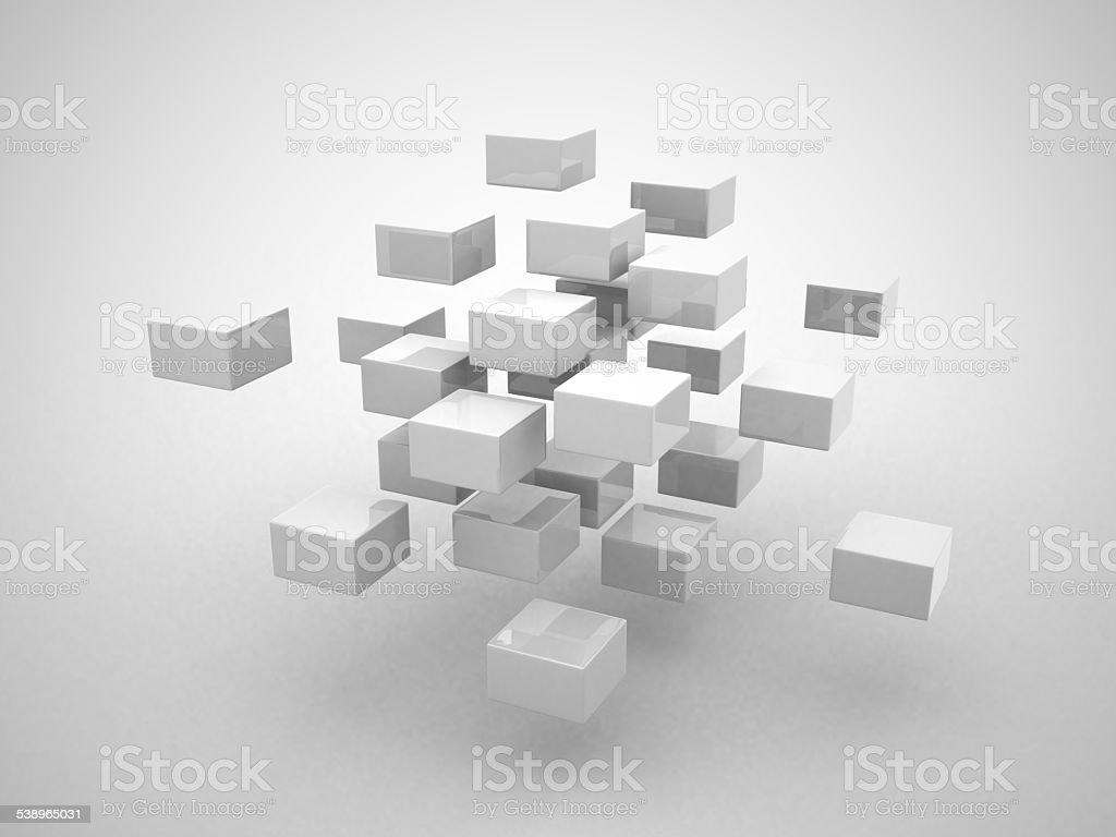 Abstract geometric shapes from cubes stock photo
