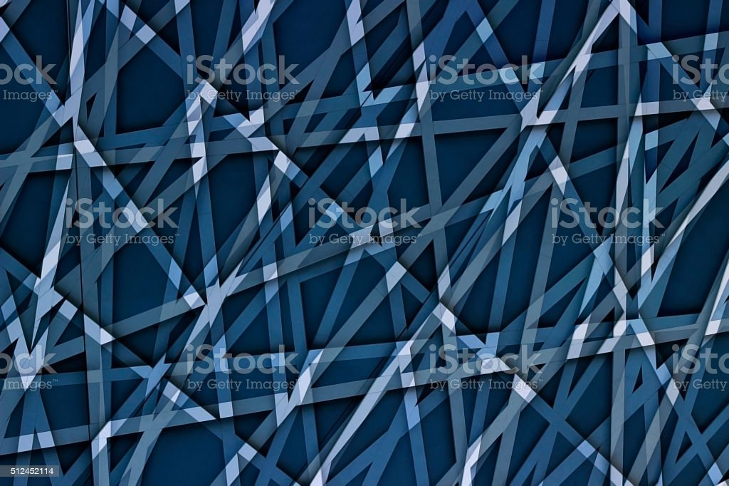 Abstract geometric / technological sketch consisting of multidirectional lines stock photo