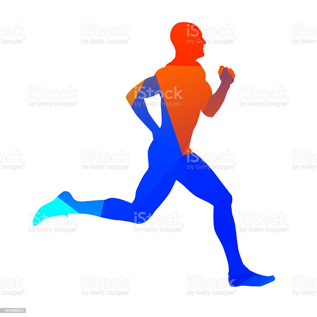 Abstract geometrical runner stock photo