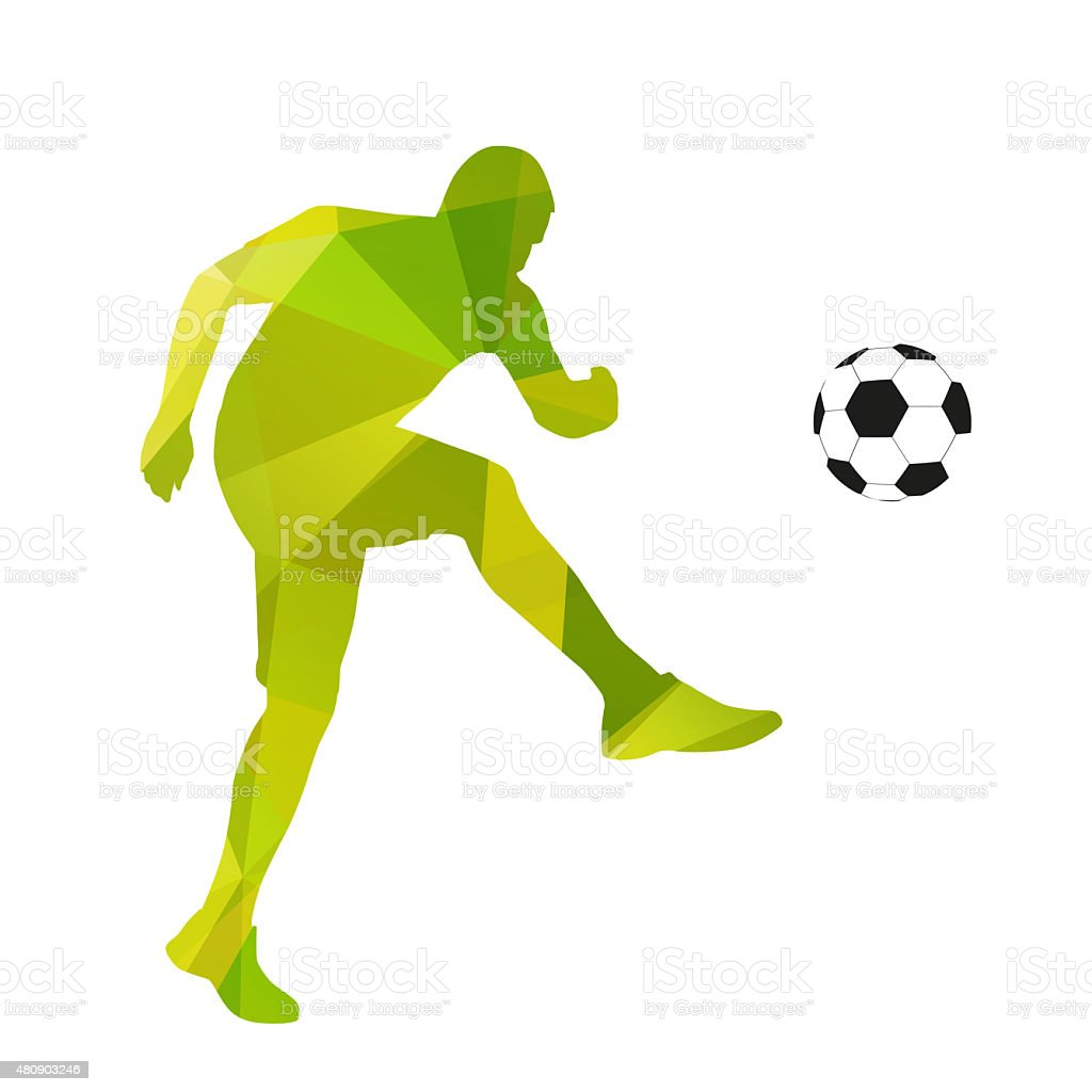 Abstract geometrical soccer player stock photo