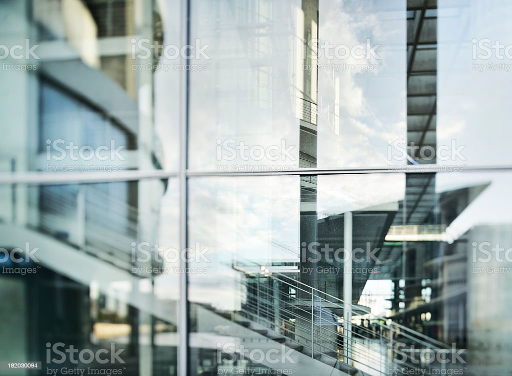 Abstract Glass Facade of Modern Office Building stock photo