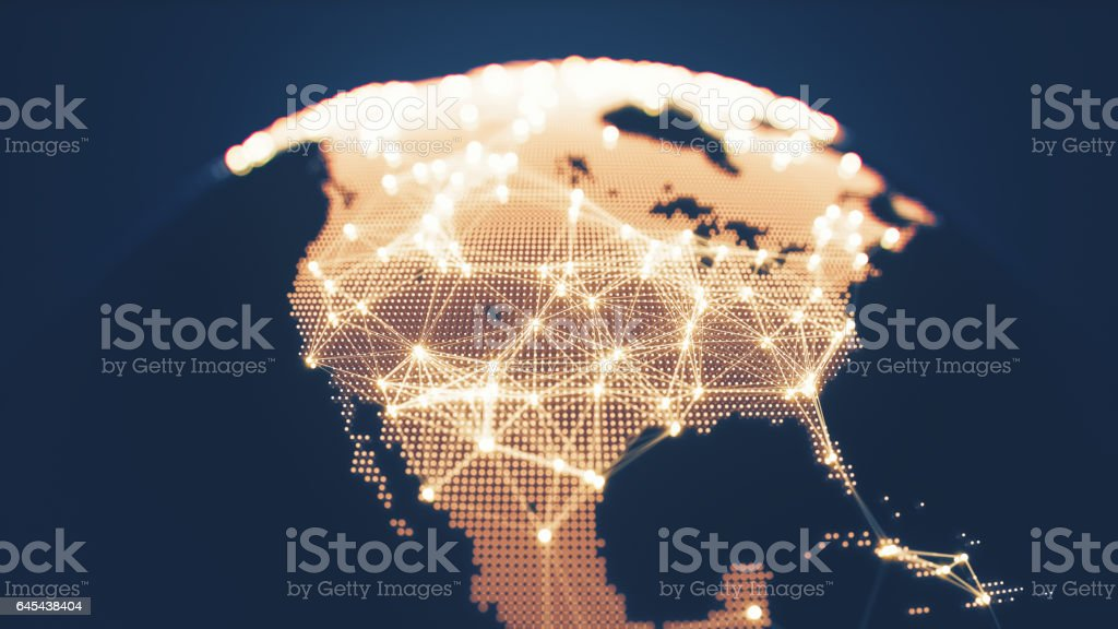 Abstract Globe With Glowing Networks - North America stock photo