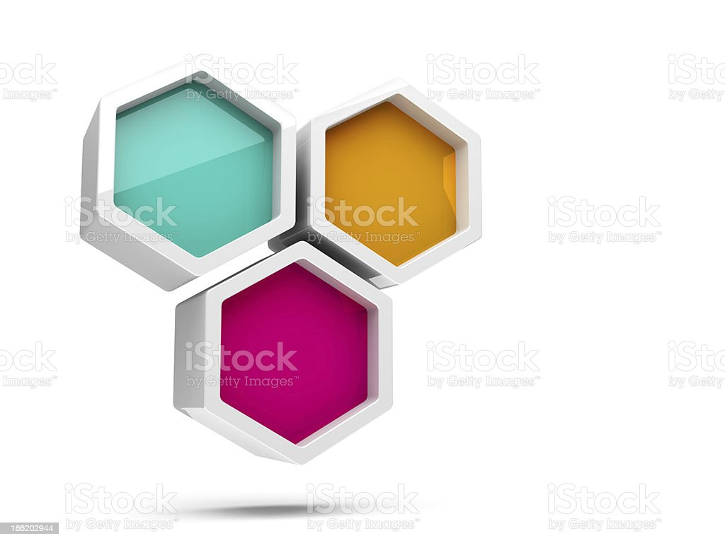 Abstract glossy colorful honeycomb 3d design element royalty-free stock photo