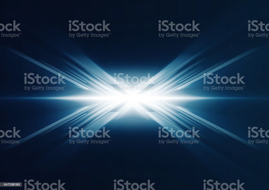Abstract glowing blue lines in perspective stock photo