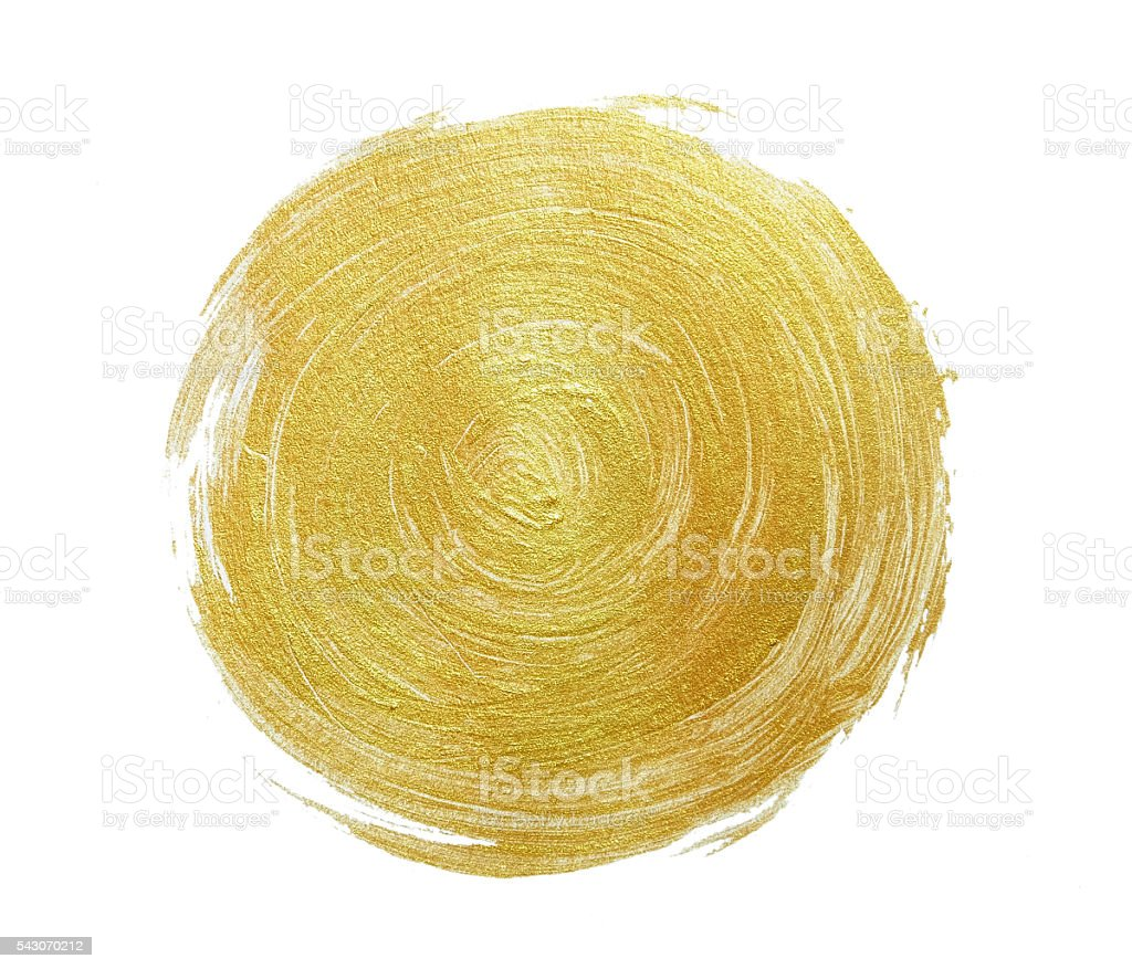Abstract gold glittering textured paint on white paper stock photo