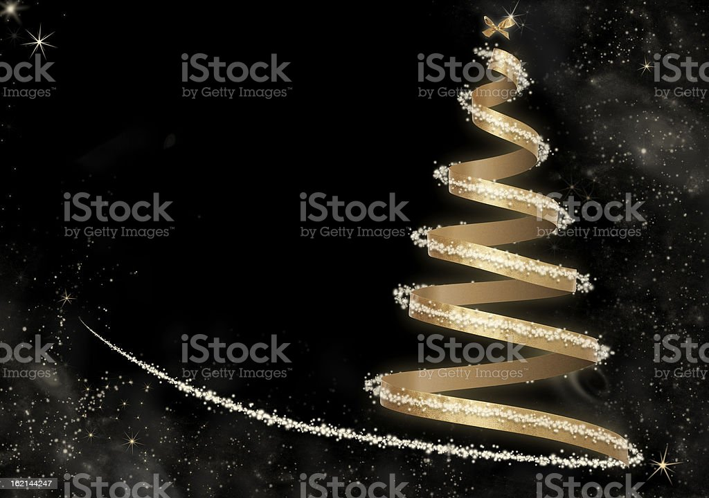 Abstract Golden Christmas Tree card stock photo