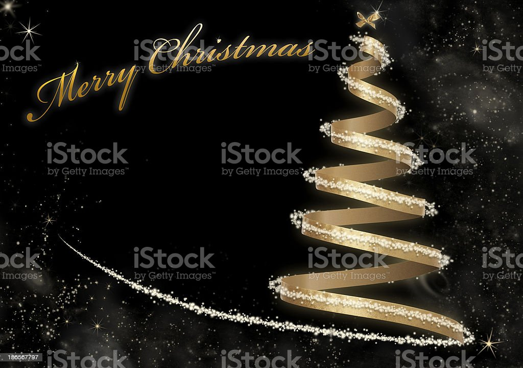 Abstract Golden Christmas Tree card - With Text royalty-free stock photo