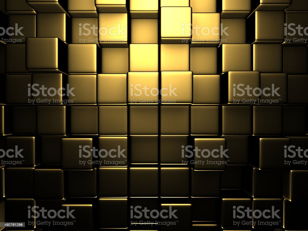 Abstract Golden Cubes Wall Background stock photo