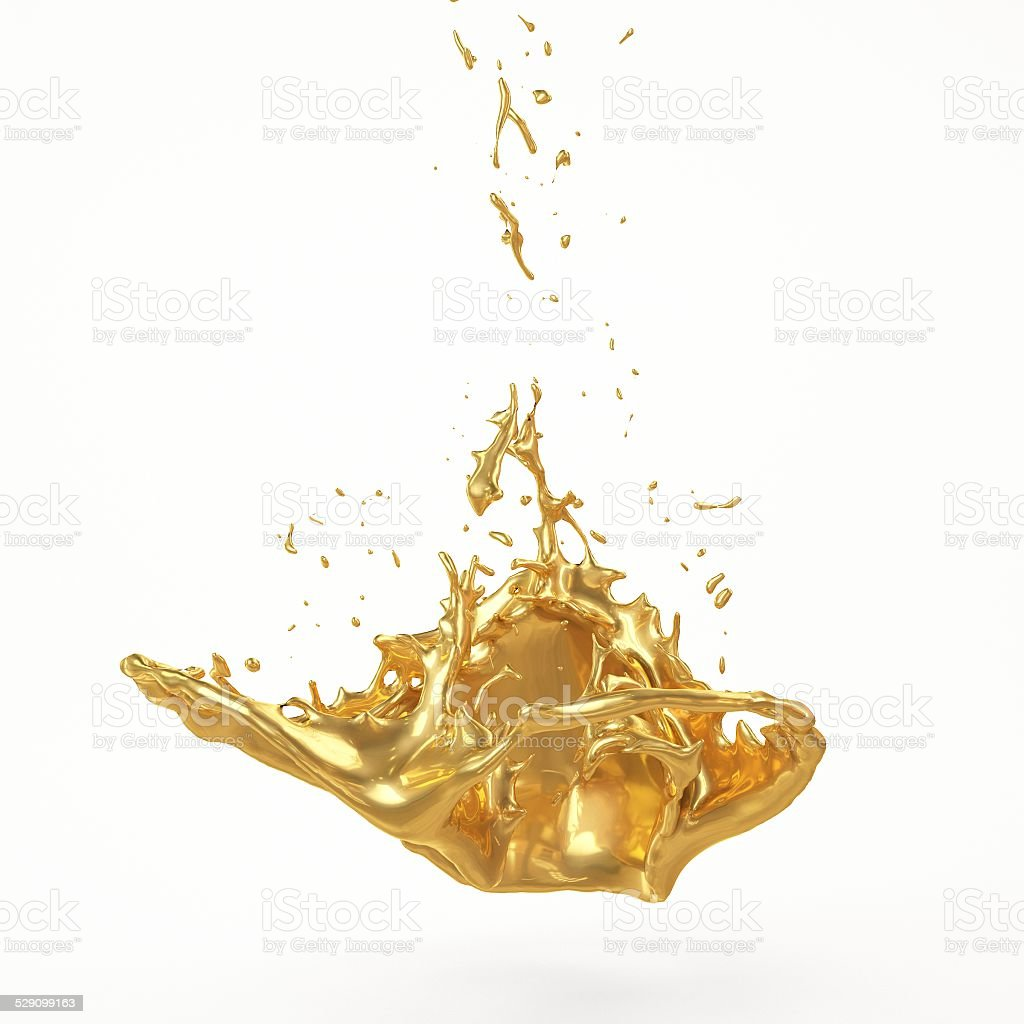 Abstract Golden Shape, Melt Gold Isolated stock photo
