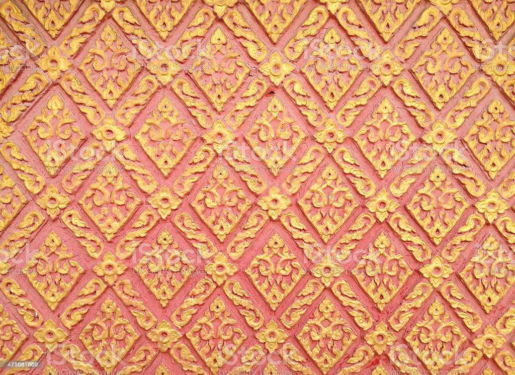 Абстрактный золотой-красный lai-тайский стиль площадь-sameless рисунок арт Стоковые фото Стоковая фотография