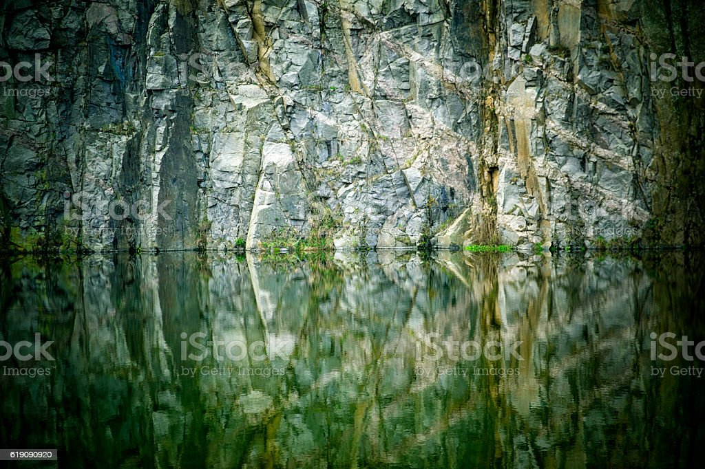 Abstract Granite Wall & Pond. Bornholm. stock photo
