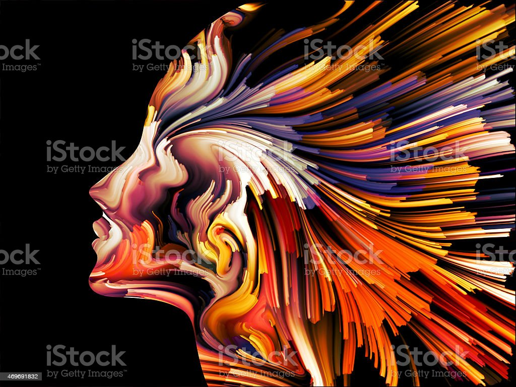 Abstract graphic painting of the mind stock photo