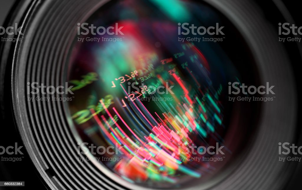 Abstract graphics reflection in  lens stock photo