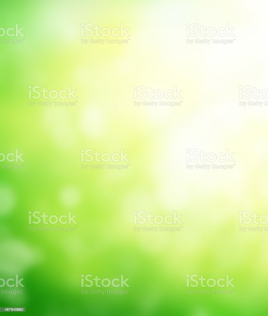Abstract green blurred background with sunlight stock photo
