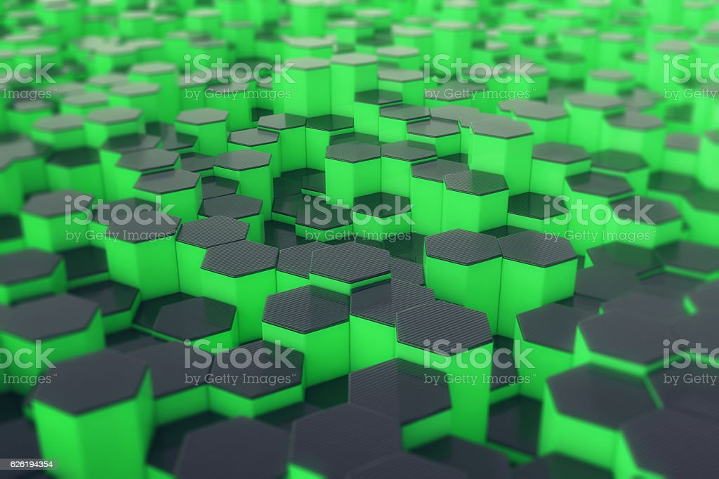 Abstract green futuristic surface with hexagons. 3d rendering stock photo
