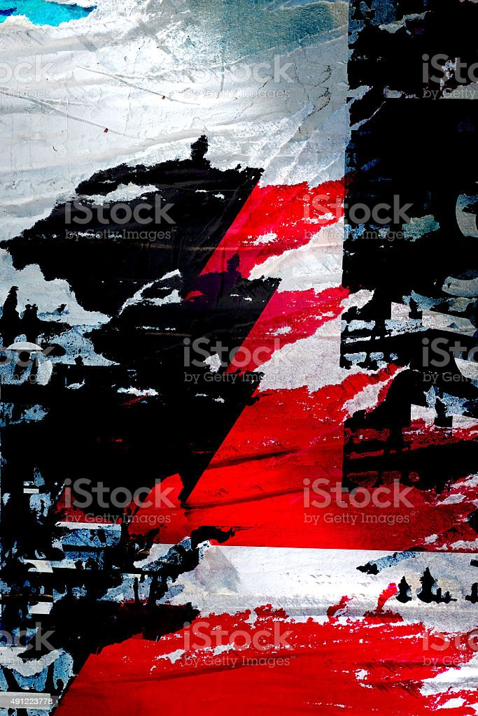 Abstract Grunge Background with Old Torn Posters stock photo