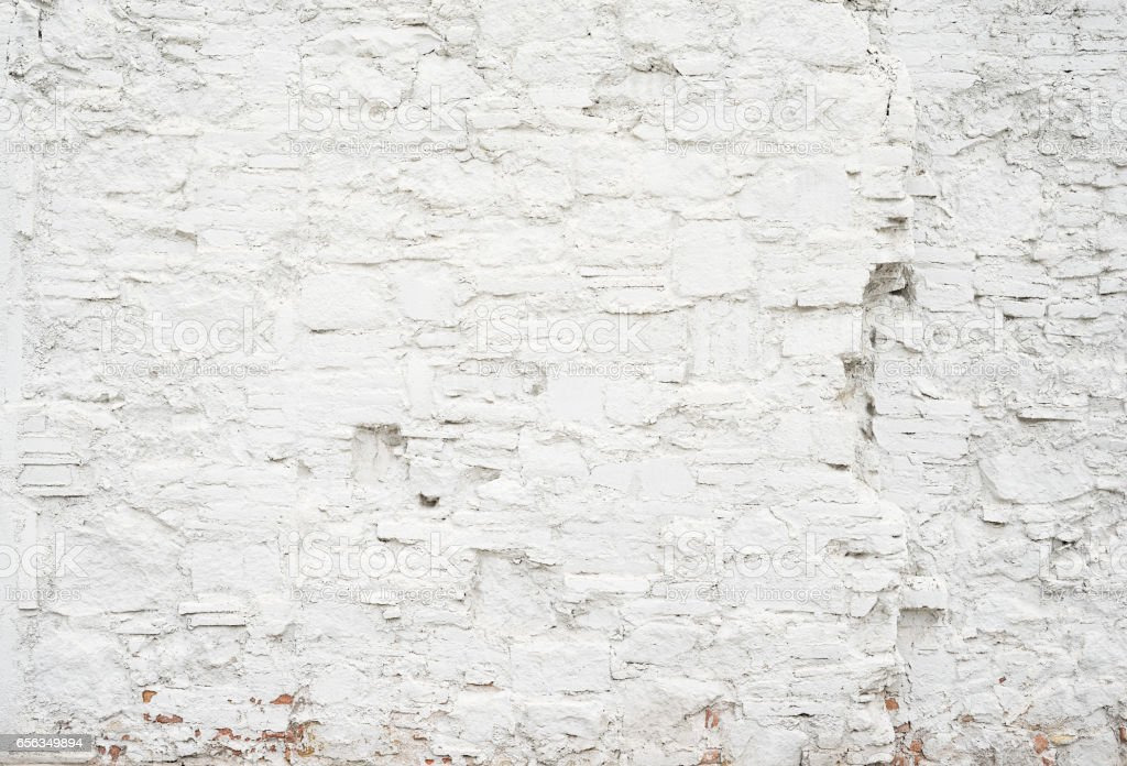 Abstract grungy empty background.Photo of white blank bricks wall texture. Blank cement surface.Horizontal. stock photo