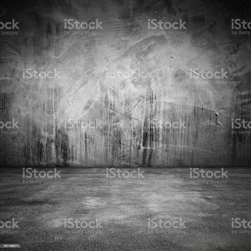 Abstract grungy interior with concrete floor and wall stock photo