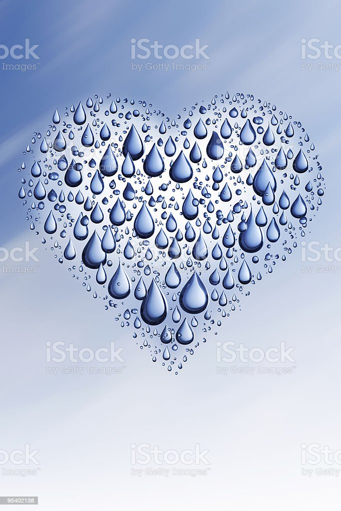 Abstract heart built out of water drops stock photo