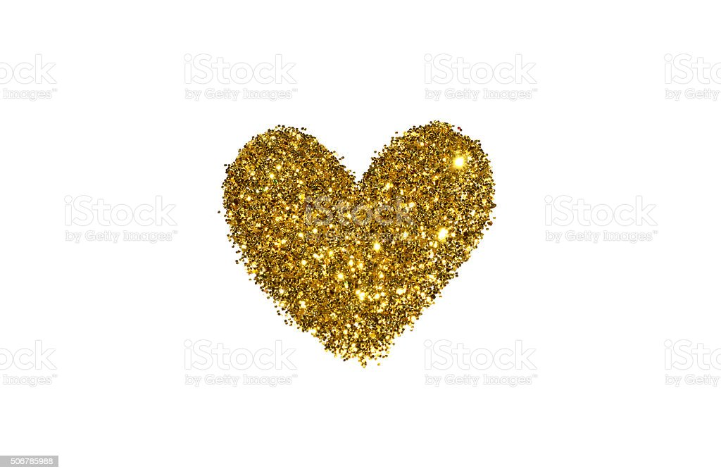 Abstract heart of golden glitter sparkle on white background stock photo