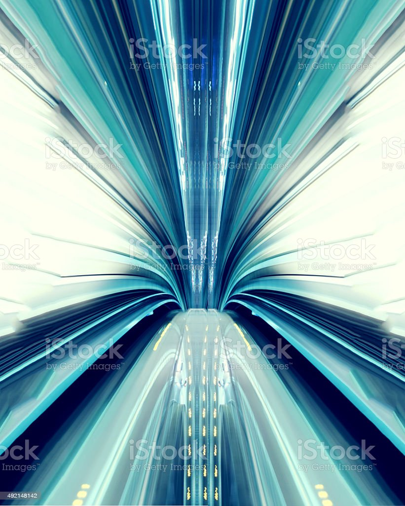 Abstract high-speed technology concept image from the tokyo automated transit stock photo