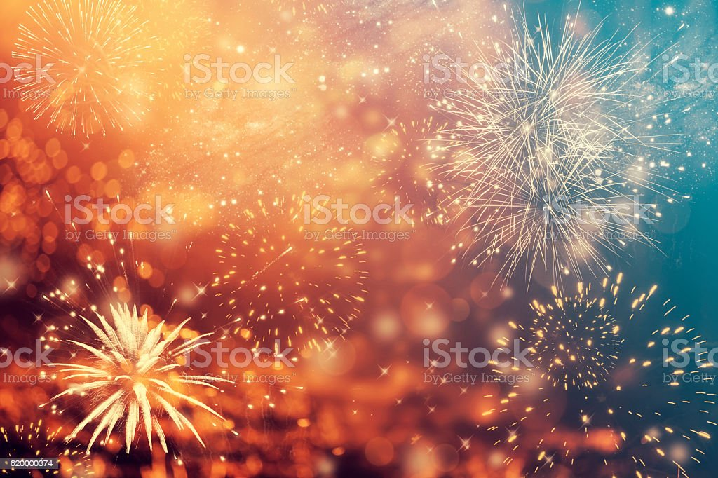 Abstract holiday background with fireworks stock photo