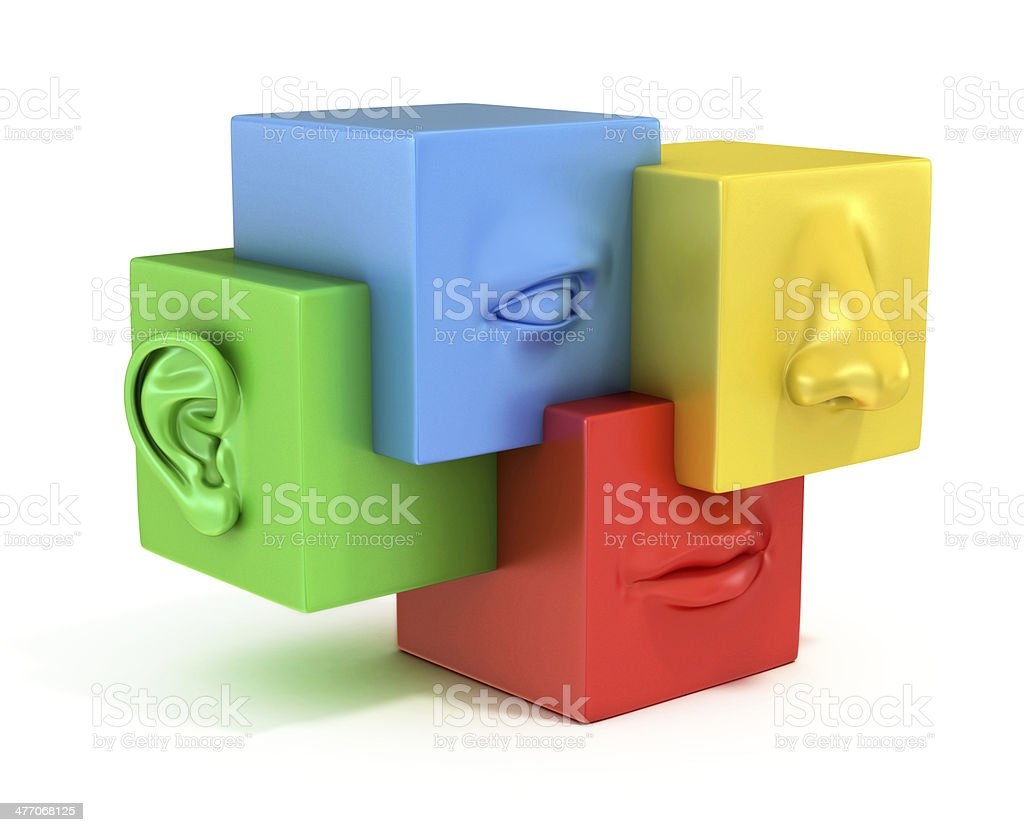 abstract human face 3d illustration stock photo