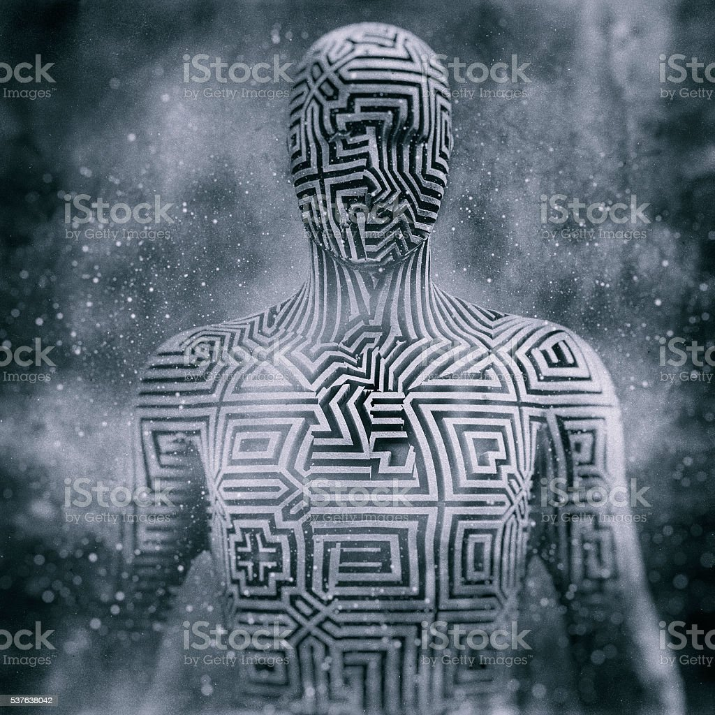 Abstract humanoid shape, cyborg, avatar stock photo