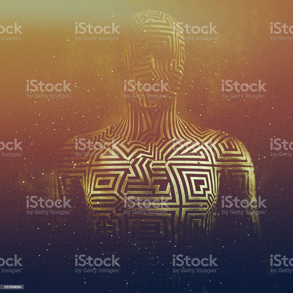 Abstract humanoid shape, cyborg, avatar stock photo