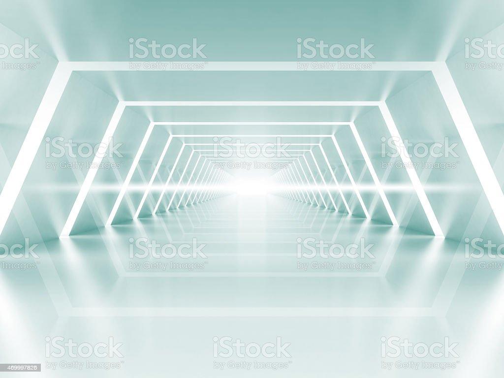 Abstract illuminated empty light blue shining corridor interior stock photo