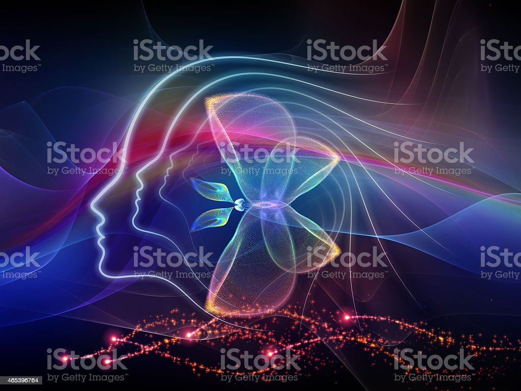 Abstract illuminated portrayal of evolving inner lines stock photo