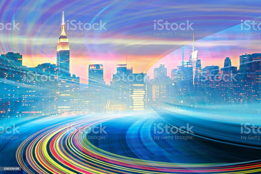 Abstract Illustration of an modern city urban highway stock photo