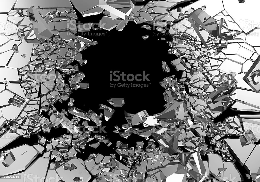 Abstract Illustration of Broken Glass isolated on black background stock photo