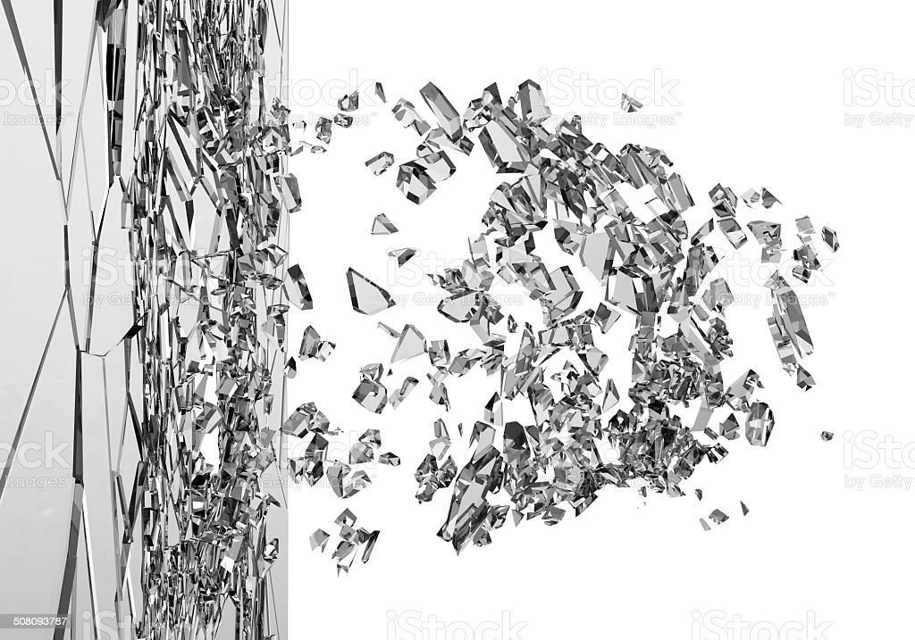 Abstract Illustration of Broken Glass isolated on white background stock photo