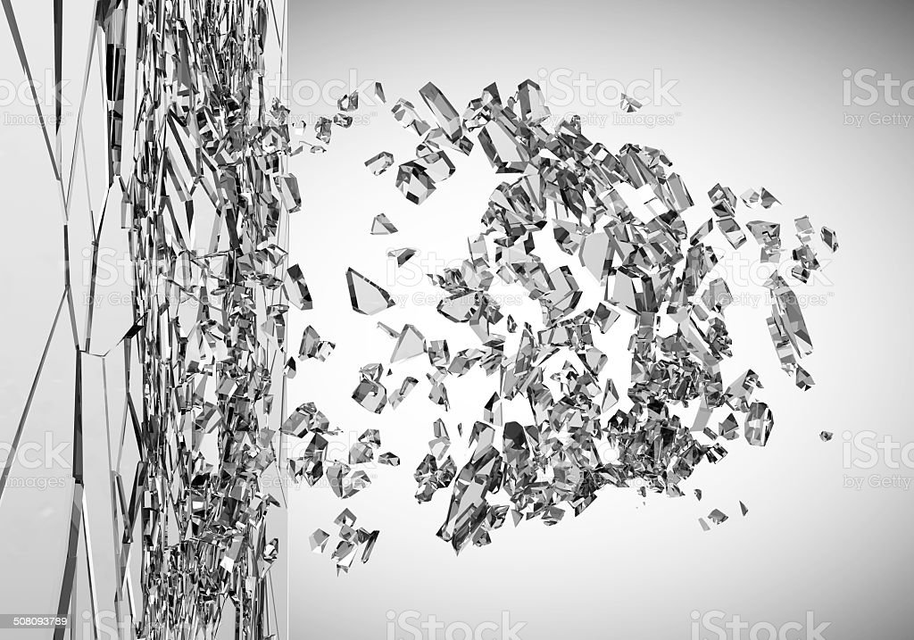 Abstract Illustration of Broken Glass on gradient background stock photo