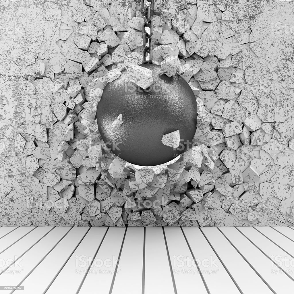Abstract Illustration of Concrete Wall Broken by Wrecking Ball stock photo