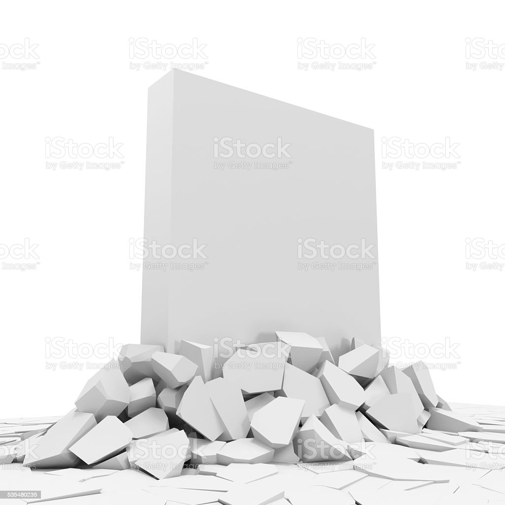 Abstract Illustration of Solid Concrete Block Breaking Through From Floor stock photo
