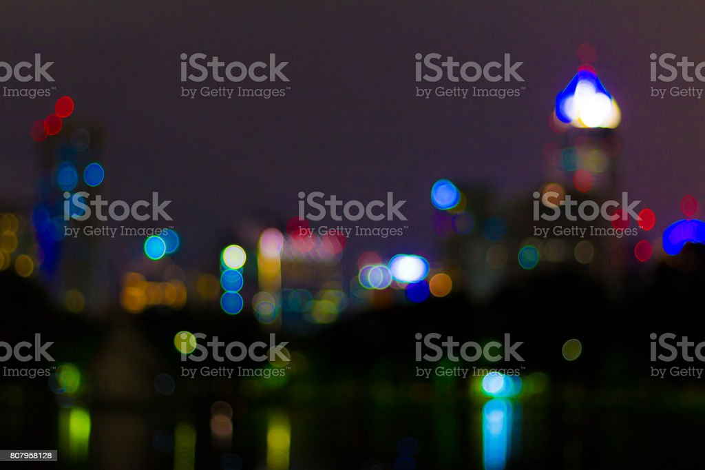 Abstract image of blurred lights in the bangkok city. stock photo