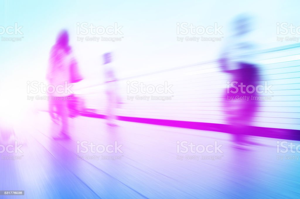 Abstract image of blurred people at subway station. stock photo