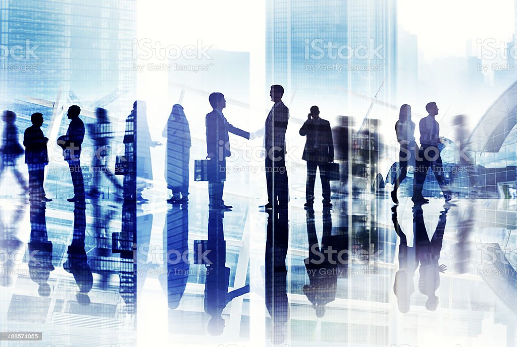 Abstract Image of Business Handshake in a Cityscape royalty-free stock photo