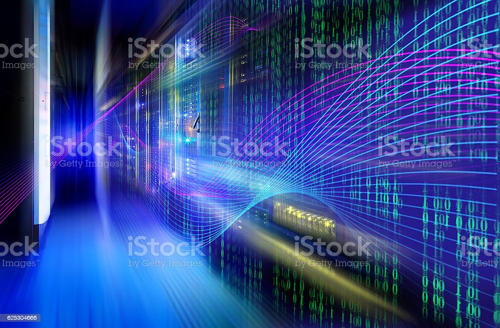 abstract image of Light traces. visualization  hacker attacks on server stock photo