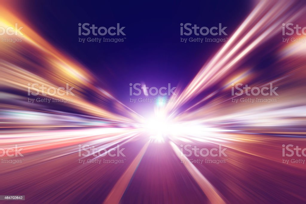 Abstract image of night traffic in the city. stock photo