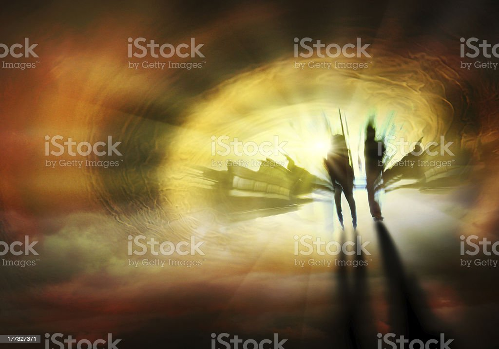 Abstract image of people walking to Heaven stock photo