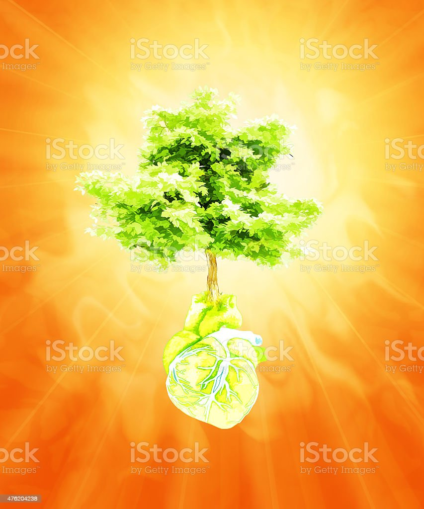 Abstract in the form of heart and tree. Hot summer. stock photo